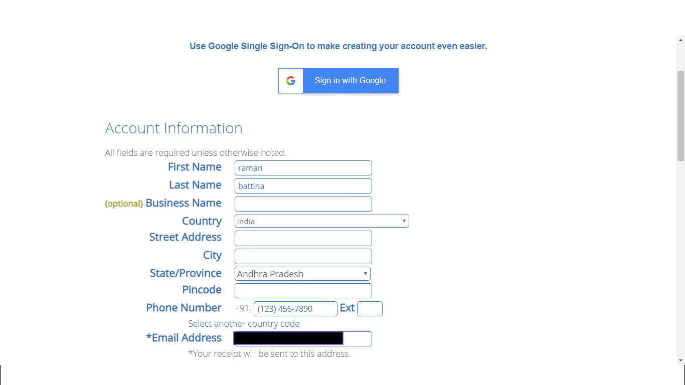 fill account information